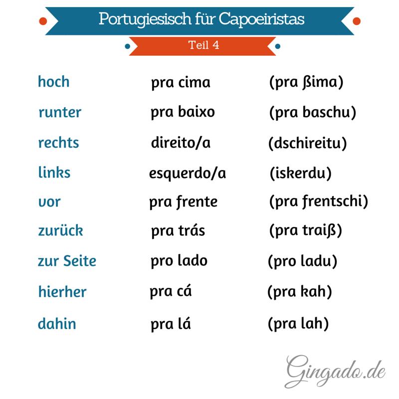 Portugiesisch für Capoeiristas - Richtungen